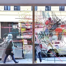Site-specific-double-side-glass-window-installation, adhesive tapes, transparent paper, 280 x 230 cm, Improper walls gallery, Vienna, 2017